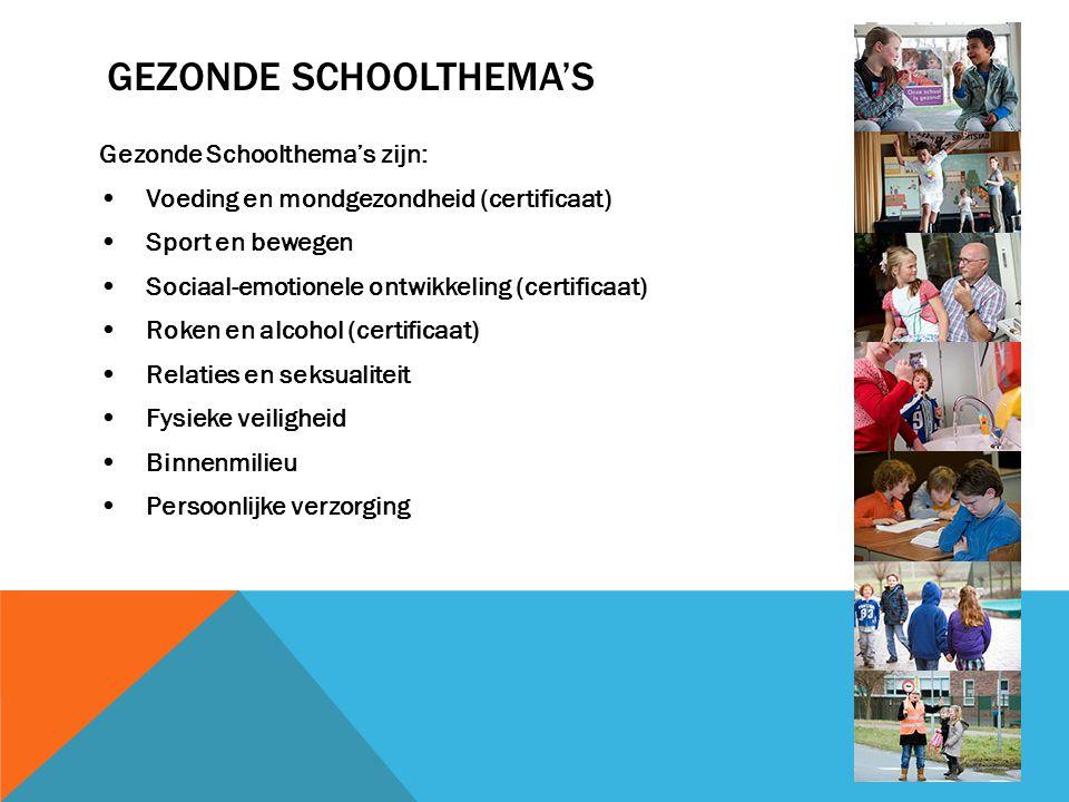 GEZONDE SCHOOLTHEMA'S Gezonde Schoolthema's zijn: Voeding en mondgezondheid (certificaat) Sport en bewegen Sociaal-emotionele ontwikkeling (certificaa
