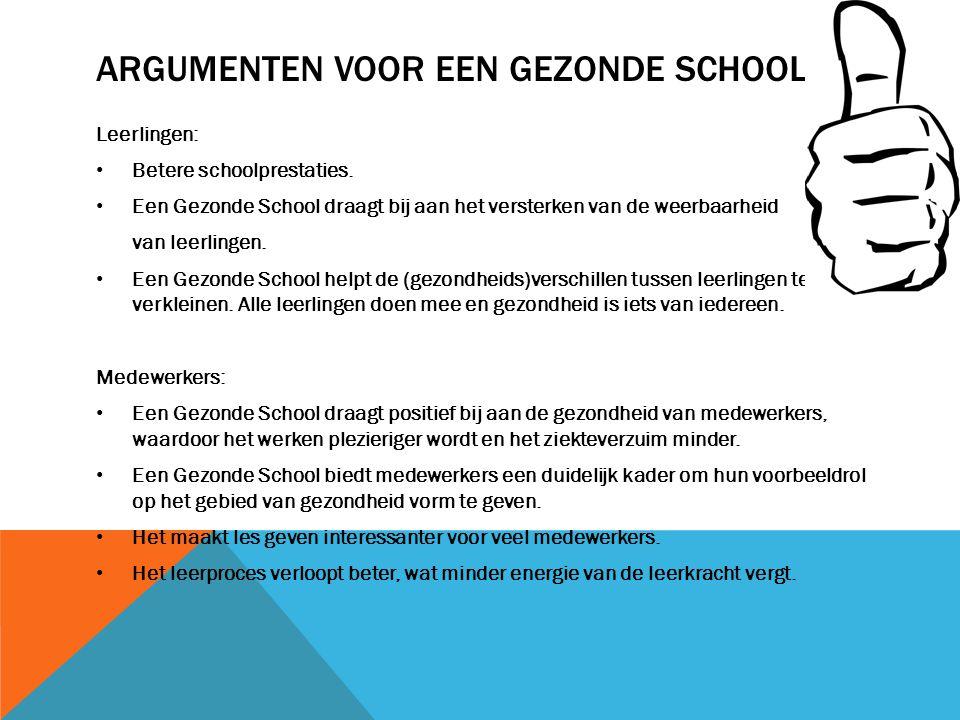 ARGUMENTEN VOOR EEN GEZONDE SCHOOL Leerlingen: Betere schoolprestaties. Een Gezonde School draagt bij aan het versterken van de weerbaarheid van leerl