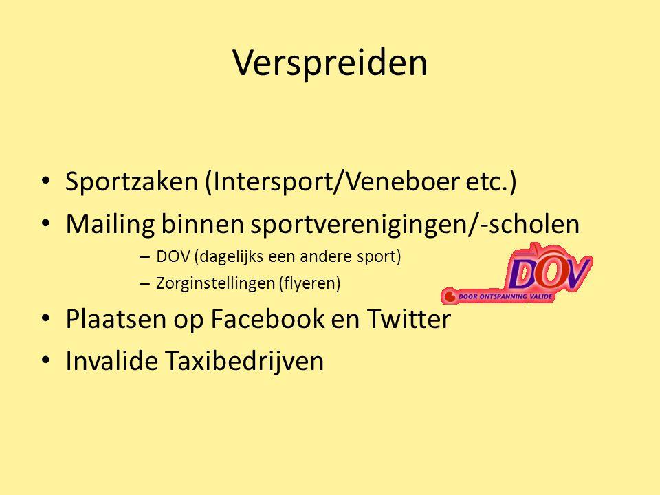 Verspreiden Sportzaken (Intersport/Veneboer etc.) Mailing binnen sportverenigingen/-scholen – DOV (dagelijks een andere sport) – Zorginstellingen (fly