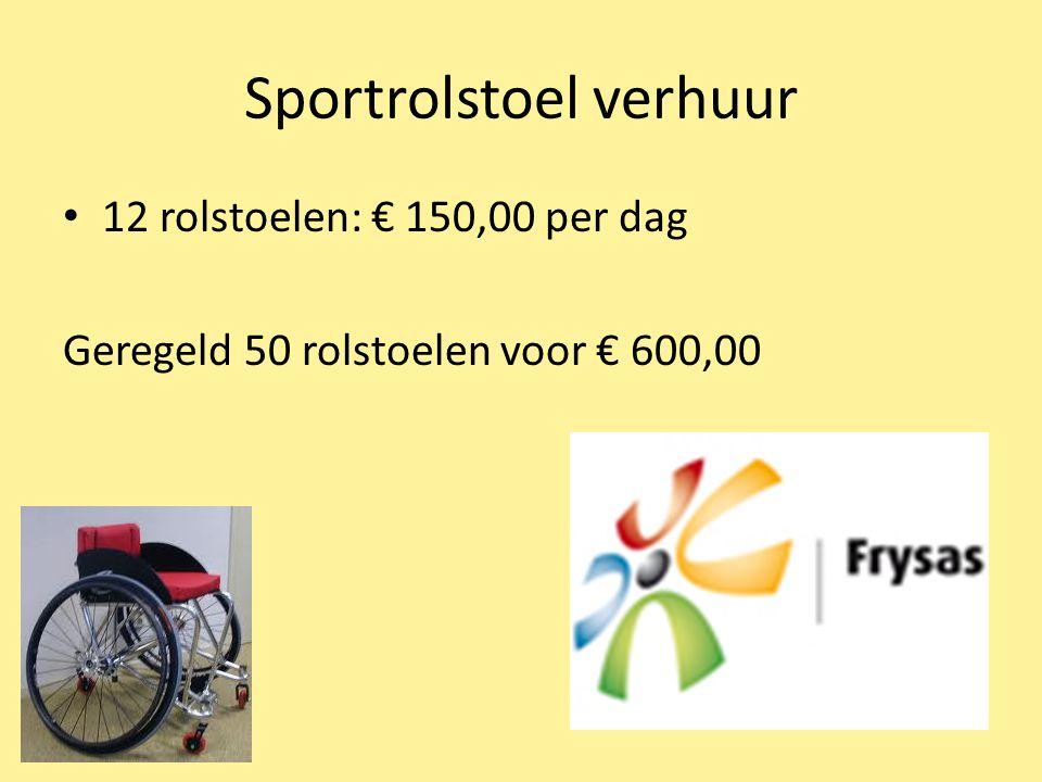 Sportrolstoel verhuur 12 rolstoelen: € 150,00 per dag Geregeld 50 rolstoelen voor € 600,00
