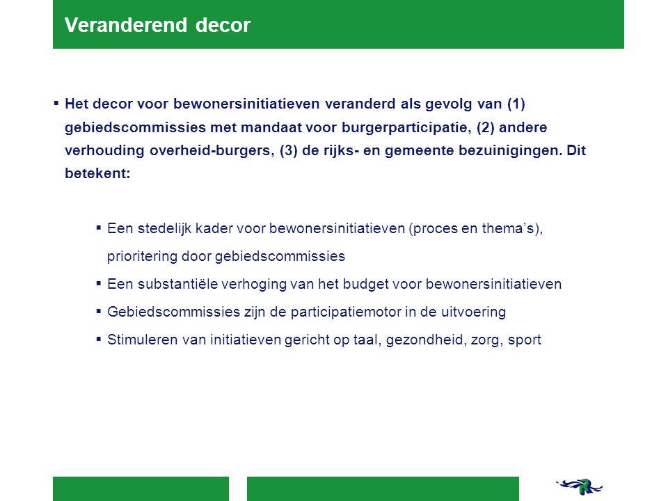 Veranderend decor  Het decor voor bewonersinitiatieven veranderd als gevolg van (1) gebiedscommissies met mandaat voor burgerparticipatie, (2) andere