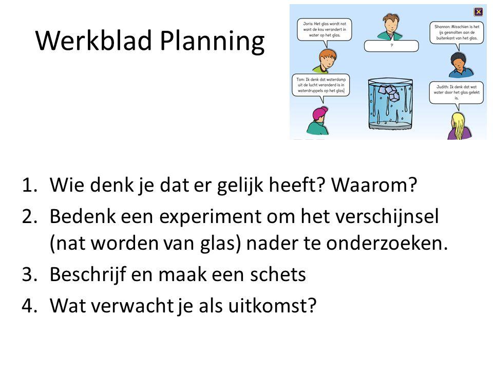 Werkblad Planning 1.Wie denk je dat er gelijk heeft? Waarom? 2.Bedenk een experiment om het verschijnsel (nat worden van glas) nader te onderzoeken. 3