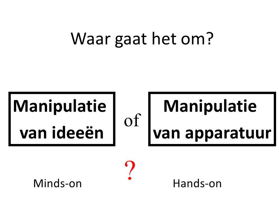 Waar gaat het om? Manipulatie van ideeën Manipulatie van apparatuur of ? Minds-onHands-on