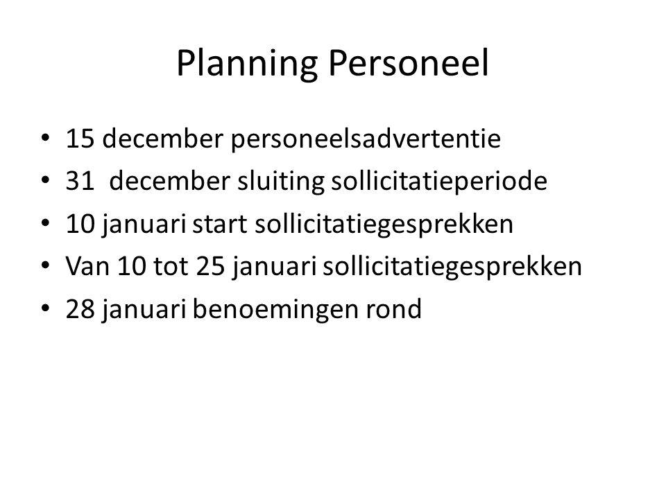 Planning Personeel 15 december personeelsadvertentie 31 december sluiting sollicitatieperiode 10 januari start sollicitatiegesprekken Van 10 tot 25 januari sollicitatiegesprekken 28 januari benoemingen rond