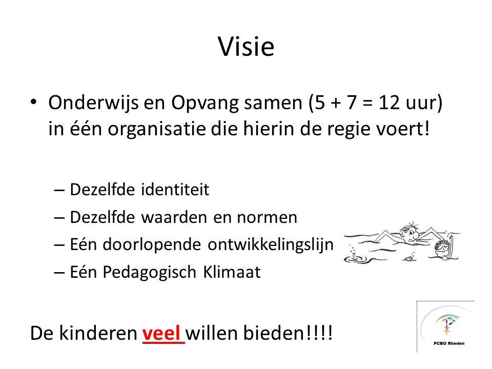Visie Onderwijs en Opvang samen (5 + 7 = 12 uur) in één organisatie die hierin de regie voert! – Dezelfde identiteit – Dezelfde waarden en normen – Eé