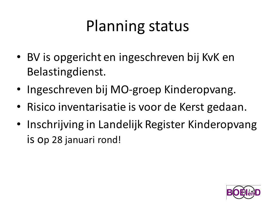 Planning status BV is opgericht en ingeschreven bij KvK en Belastingdienst. Ingeschreven bij MO-groep Kinderopvang. Risico inventarisatie is voor de K
