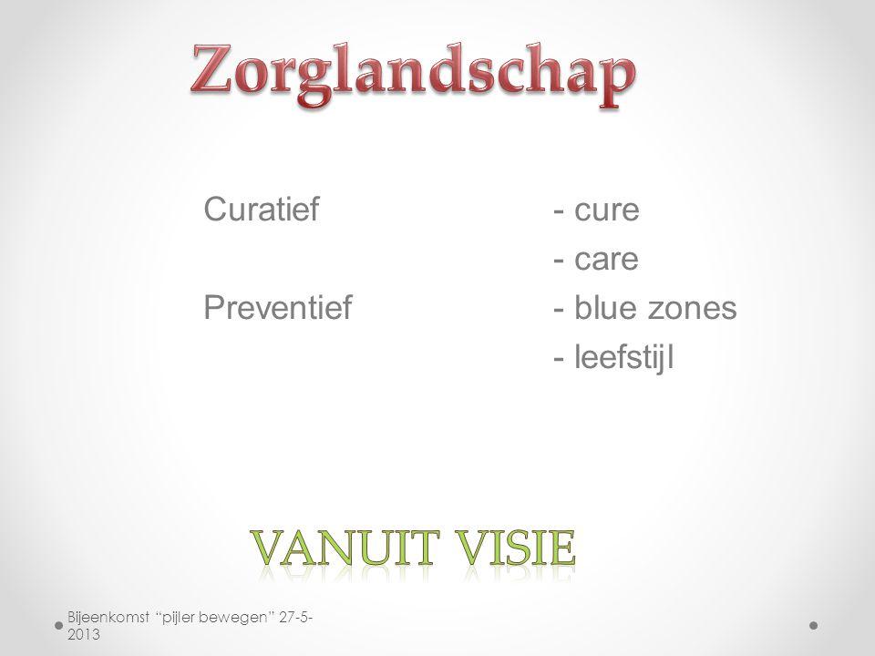 """Curatief- cure - care Preventief- blue zones - leefstijl Bijeenkomst """"pijler bewegen"""" 27-5- 2013"""
