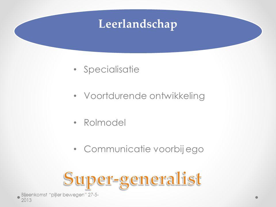 """Leerlandschap Specialisatie Voortdurende ontwikkeling Rolmodel Communicatie voorbij ego Bijeenkomst """"pijler bewegen"""" 27-5- 2013"""