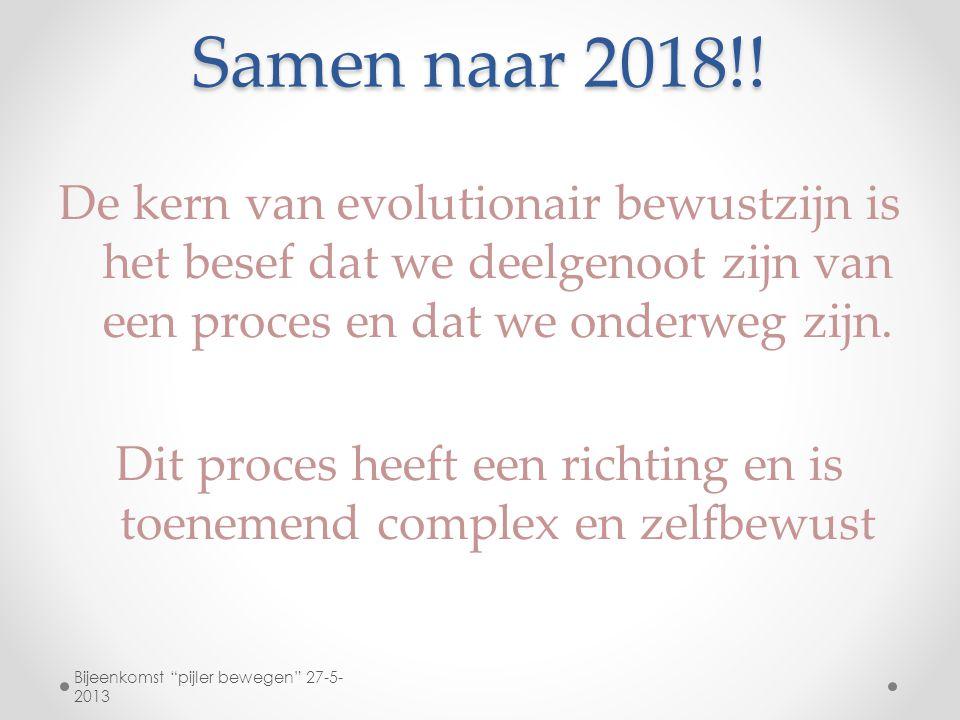 Samen naar 2018!! De kern van evolutionair bewustzijn is het besef dat we deelgenoot zijn van een proces en dat we onderweg zijn. Dit proces heeft een