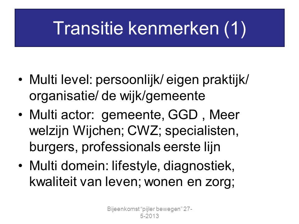 Multi level: persoonlijk/ eigen praktijk/ organisatie/ de wijk/gemeente Multi actor: gemeente, GGD, Meer welzijn Wijchen; CWZ; specialisten, burgers,