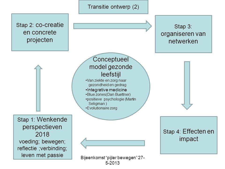 Stap 2: co-creatie en concrete projecten Conceptueel model gezonde leefstijl Van ziekte en zorg naar gezondheid en gedrag Integrative medicine Blue zo
