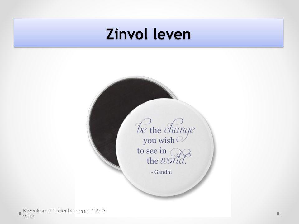 """Zinvol leven Bijeenkomst """"pijler bewegen"""" 27-5- 2013"""