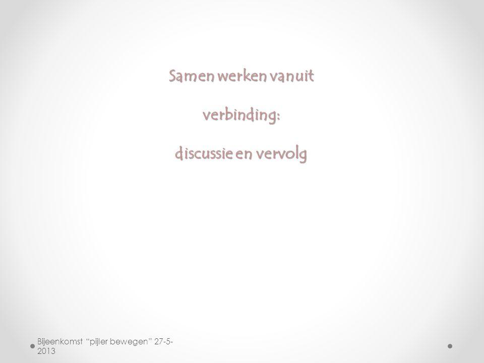 """Samen werken vanuit verbinding: discussie en vervolg Bijeenkomst """"pijler bewegen"""" 27-5- 2013"""