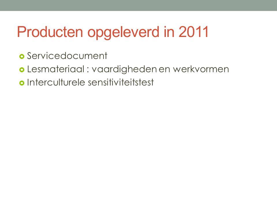 Producten opgeleverd in 2011  Servicedocument  Lesmateriaal : vaardigheden en werkvormen  Interculturele sensitiviteitstest