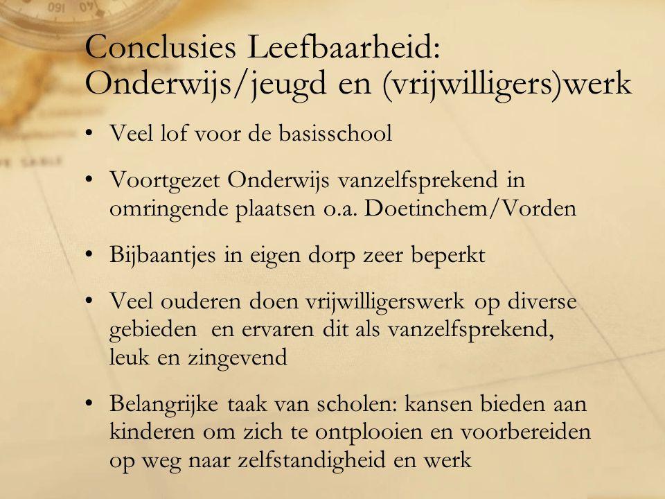 Conclusies Leefbaarheid: Onderwijs/jeugd en (vrijwilligers)werk Veel lof voor de basisschool Voortgezet Onderwijs vanzelfsprekend in omringende plaatsen o.a.