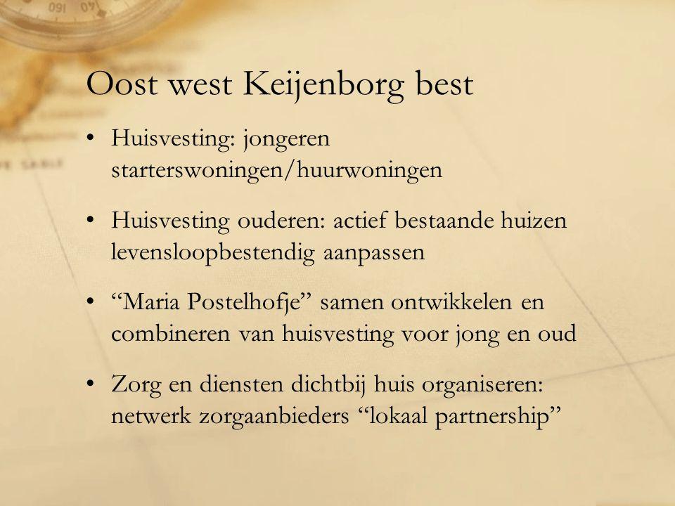 Oost west Keijenborg best Huisvesting: jongeren starterswoningen/huurwoningen Huisvesting ouderen: actief bestaande huizen levensloopbestendig aanpassen Maria Postelhofje samen ontwikkelen en combineren van huisvesting voor jong en oud Zorg en diensten dichtbij huis organiseren: netwerk zorgaanbieders lokaal partnership