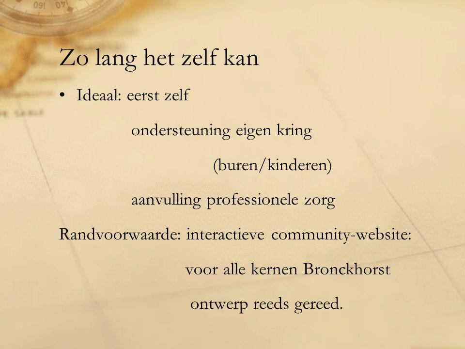 Zo lang het zelf kan Ideaal: eerst zelf ondersteuning eigen kring (buren/kinderen) aanvulling professionele zorg Randvoorwaarde: interactieve community-website: voor alle kernen Bronckhorst ontwerp reeds gereed.