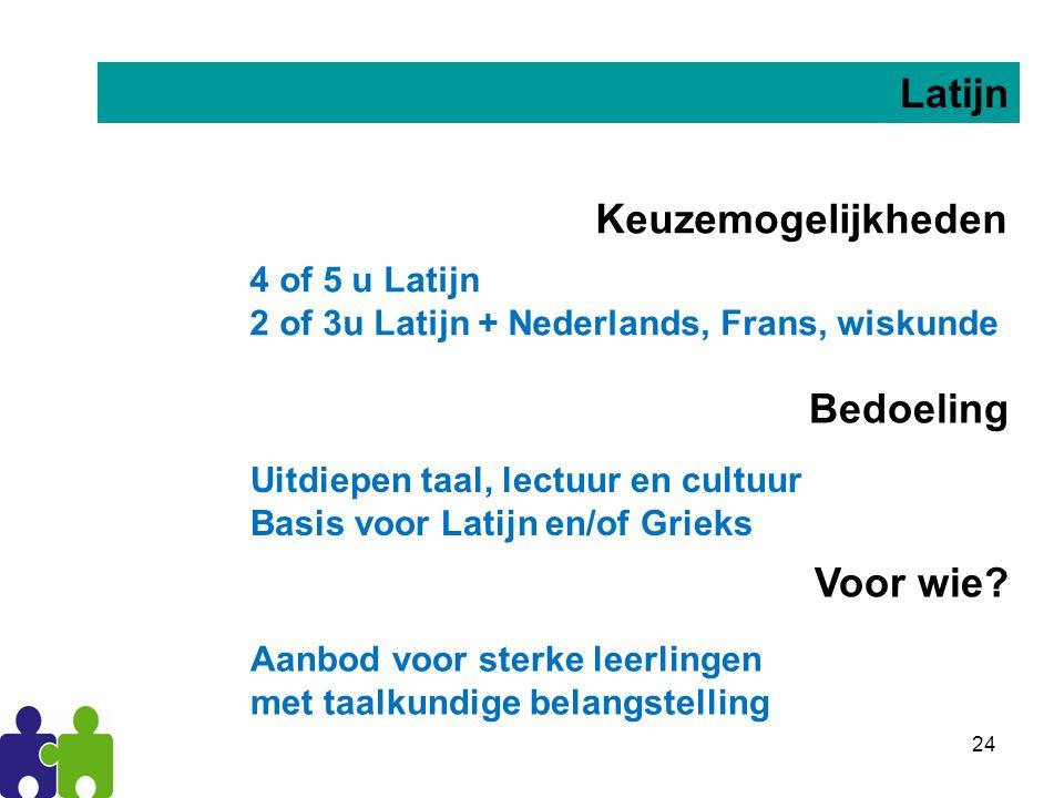25 Algemeen (moderne) Keuzemogelijkheden 4 of 5 u algemene vakken: Nederlands, Frans, wiskunde … Voor wie.