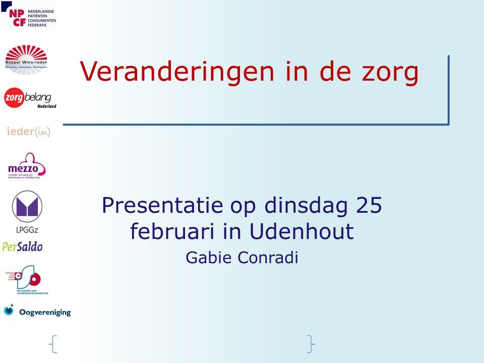 Veranderingen in de zorg Presentatie op dinsdag 25 februari in Udenhout Gabie Conradi