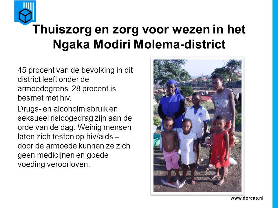 www.dorcas.nl Dorcas komt in actie Dorcas ondersteunt de partnerorganisatie Tlamalang-thuiszorg, die jaarlijks achthonderd hiv/aidspatiënten ondersteunt en hen helpt hun situatie te accepteren.