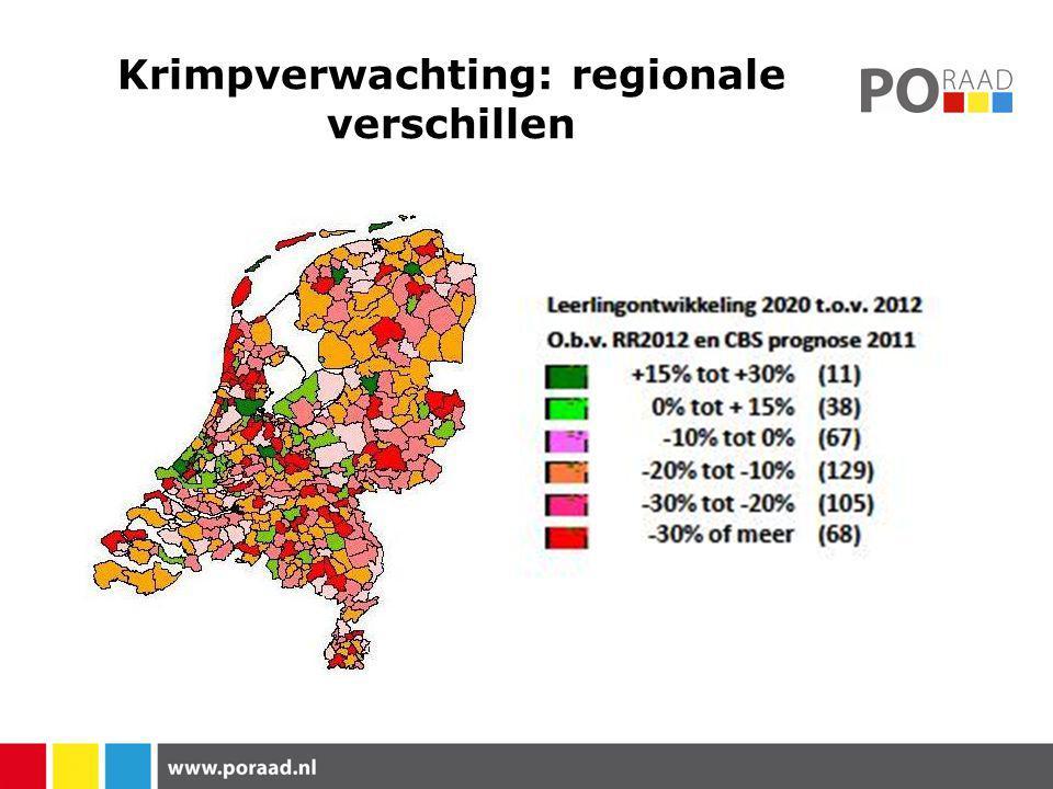 Krimpverwachting: regionale verschillen