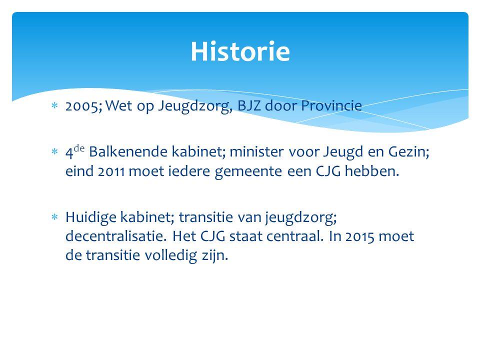  2005; Wet op Jeugdzorg, BJZ door Provincie  4 de Balkenende kabinet; minister voor Jeugd en Gezin; eind 2011 moet iedere gemeente een CJG hebben. 