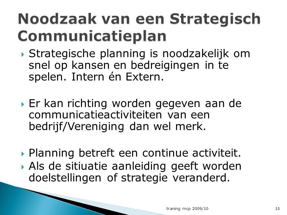  Strategische planning is noodzakelijk om snel op kansen en bedreigingen in te spelen. Intern én Extern.  Er kan richting worden gegeven aan de comm
