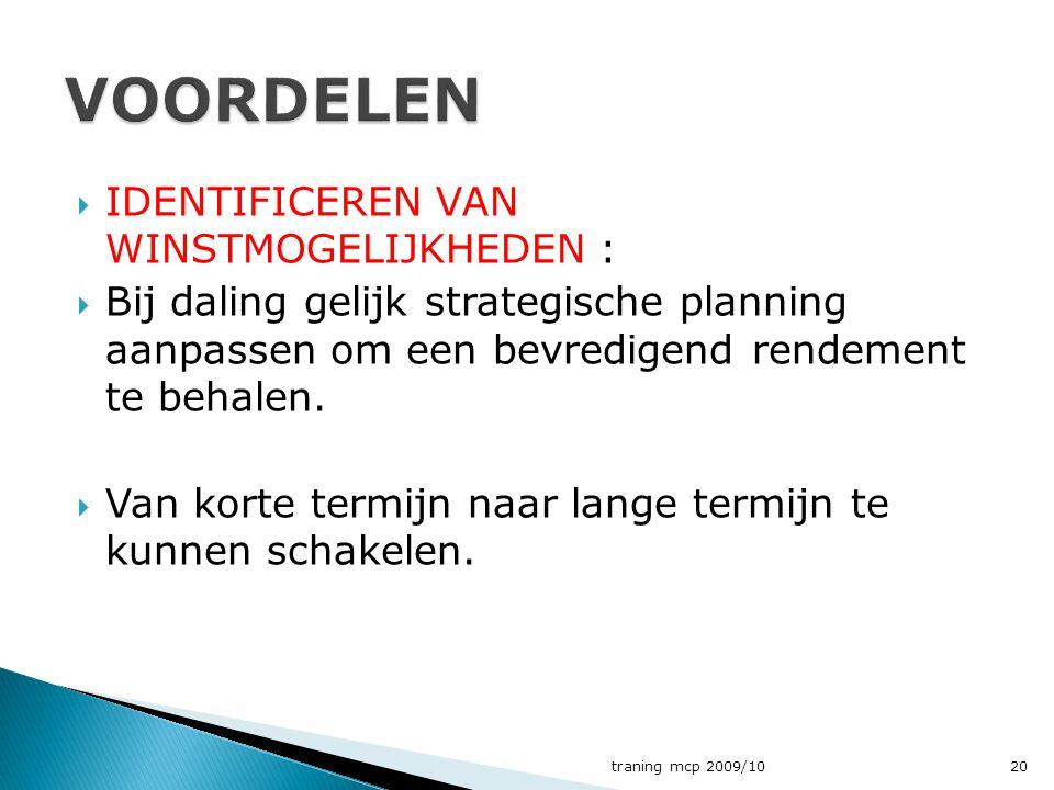  IDENTIFICEREN VAN WINSTMOGELIJKHEDEN :  Bij daling gelijk strategische planning aanpassen om een bevredigend rendement te behalen.  Van korte term