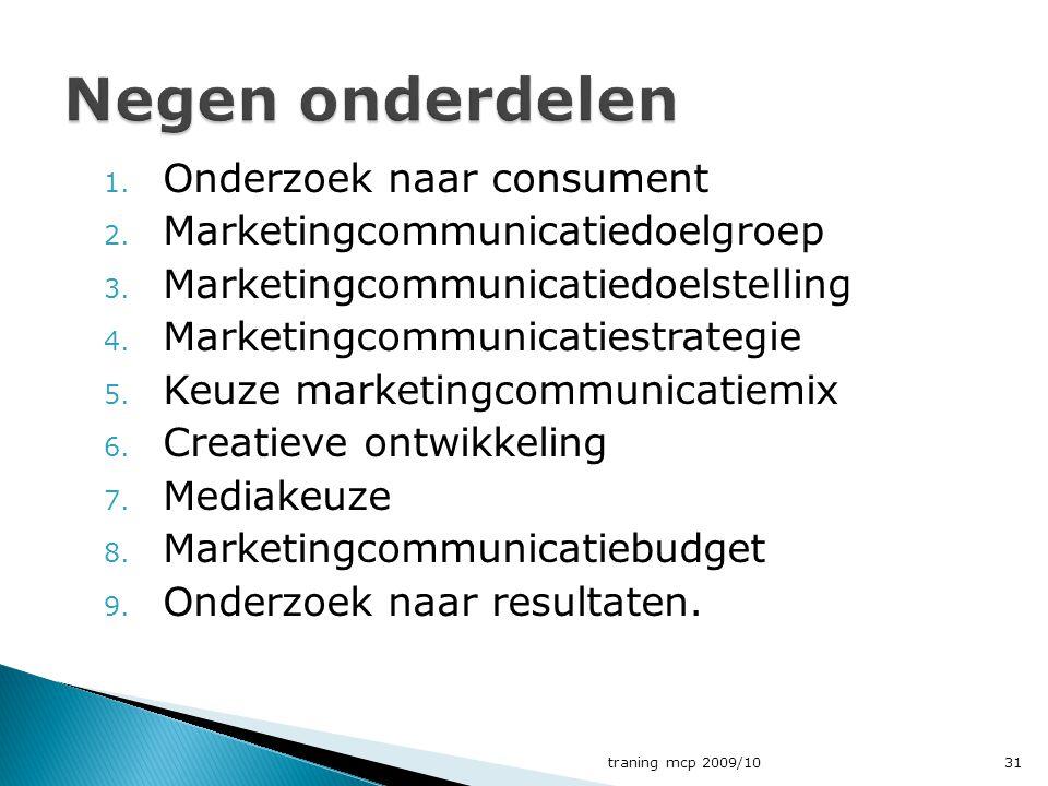 1. Onderzoek naar consument 2. Marketingcommunicatiedoelgroep 3. Marketingcommunicatiedoelstelling 4. Marketingcommunicatiestrategie 5. Keuze marketin