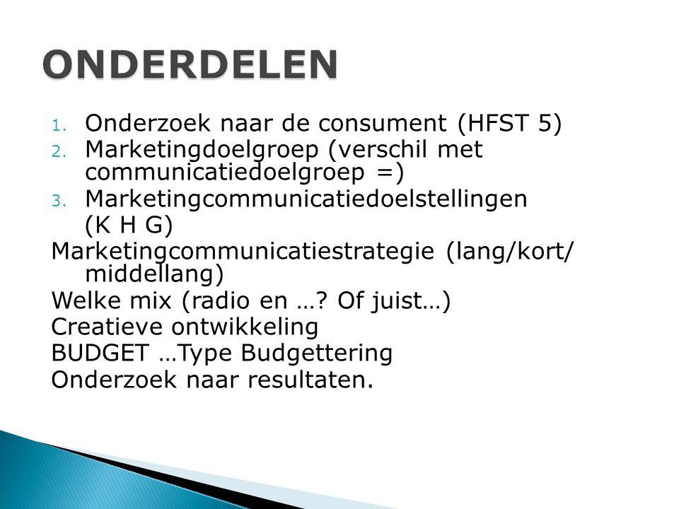 1. Onderzoek naar de consument (HFST 5) 2. Marketingdoelgroep (verschil met communicatiedoelgroep =) 3. Marketingcommunicatiedoelstellingen (K H G) Ma