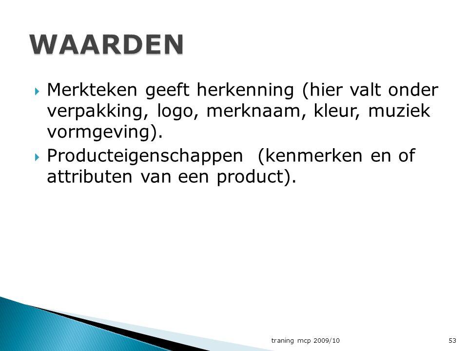  Merkteken geeft herkenning (hier valt onder verpakking, logo, merknaam, kleur, muziek vormgeving).  Producteigenschappen (kenmerken en of attribute