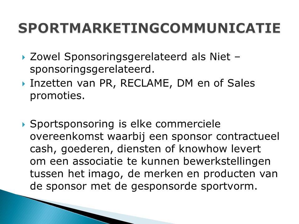  Zowel Sponsoringsgerelateerd als Niet – sponsoringsgerelateerd.  Inzetten van PR, RECLAME, DM en of Sales promoties.  Sportsponsoring is elke comm