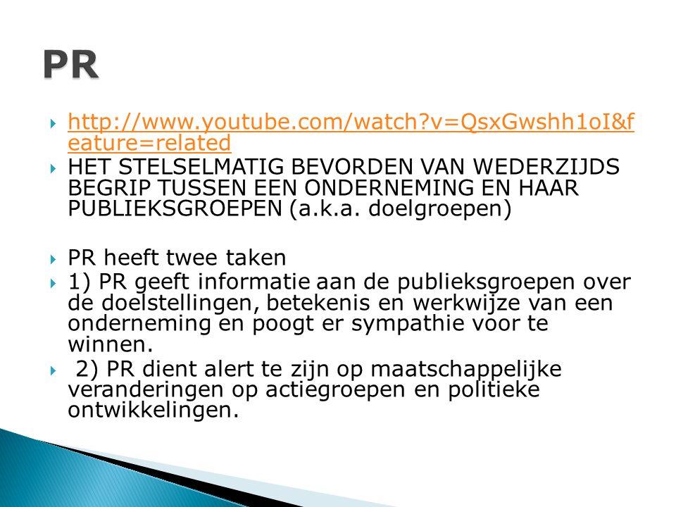  http://www.youtube.com/watch?v=QsxGwshh1oI&f eature=related http://www.youtube.com/watch?v=QsxGwshh1oI&f eature=related  HET STELSELMATIG BEVORDEN VAN WEDERZIJDS BEGRIP TUSSEN EEN ONDERNEMING EN HAAR PUBLIEKSGROEPEN (a.k.a.