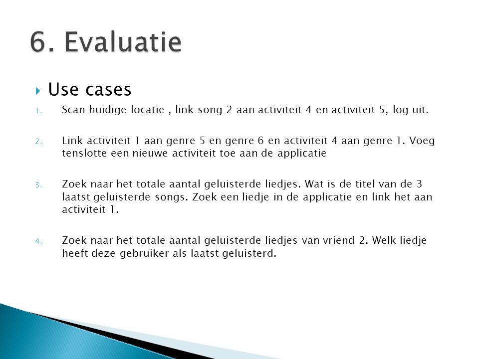  Use cases 1. Scan huidige locatie, link song 2 aan activiteit 4 en activiteit 5, log uit.