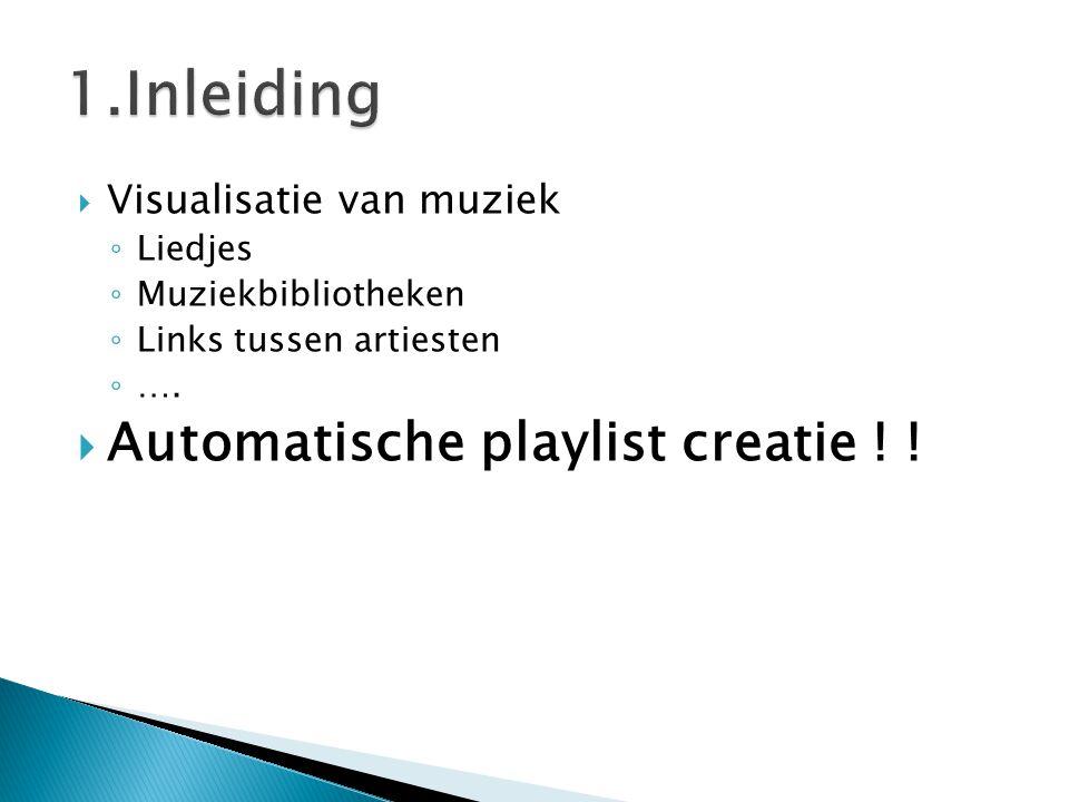  Visualisatie van muziek ◦ Liedjes ◦ Muziekbibliotheken ◦ Links tussen artiesten ◦ ….