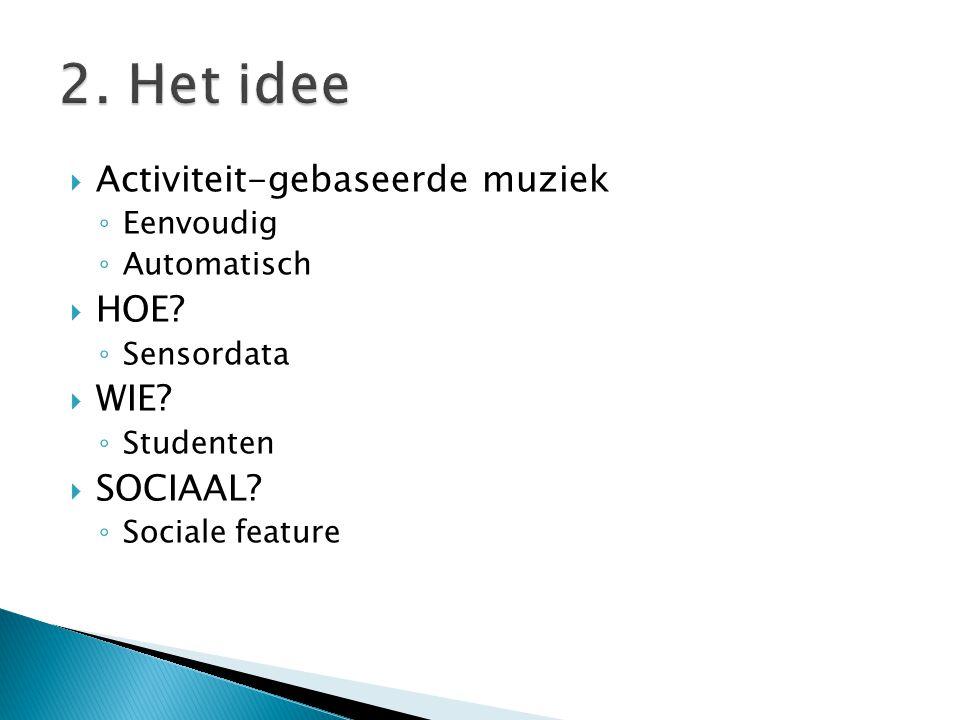  Activiteit-gebaseerde muziek ◦ Eenvoudig ◦ Automatisch  HOE.