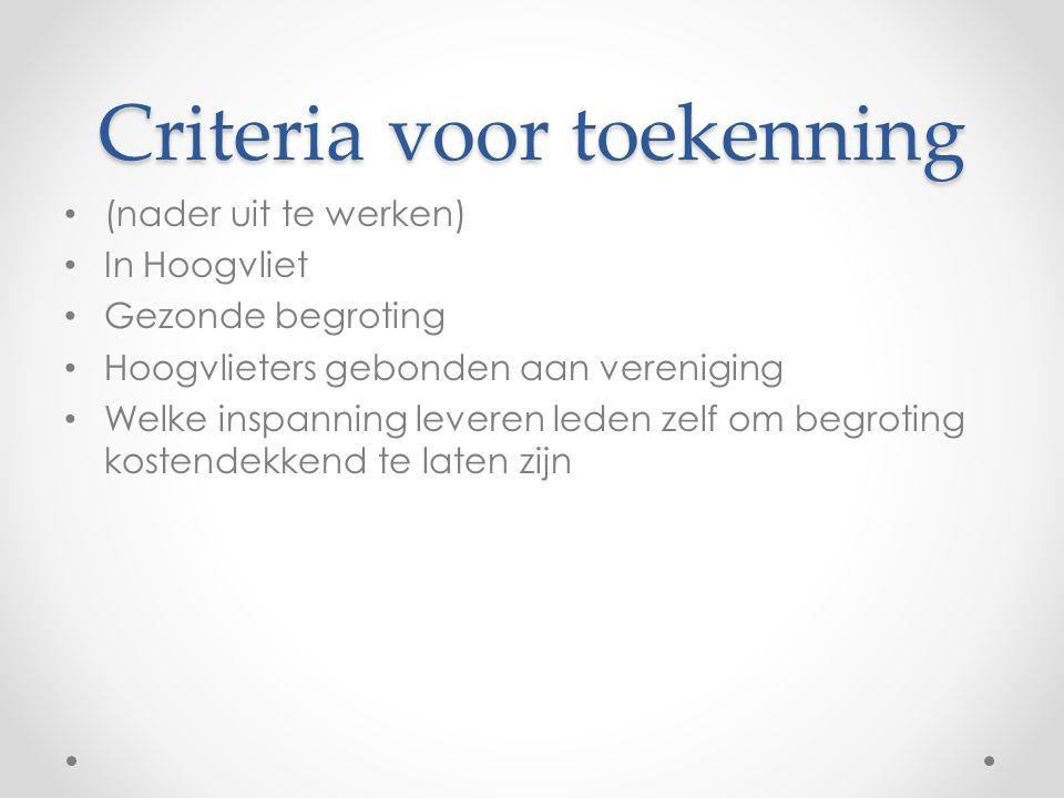 Criteria voor toekenning (nader uit te werken) In Hoogvliet Gezonde begroting Hoogvlieters gebonden aan vereniging Welke inspanning leveren leden zelf om begroting kostendekkend te laten zijn