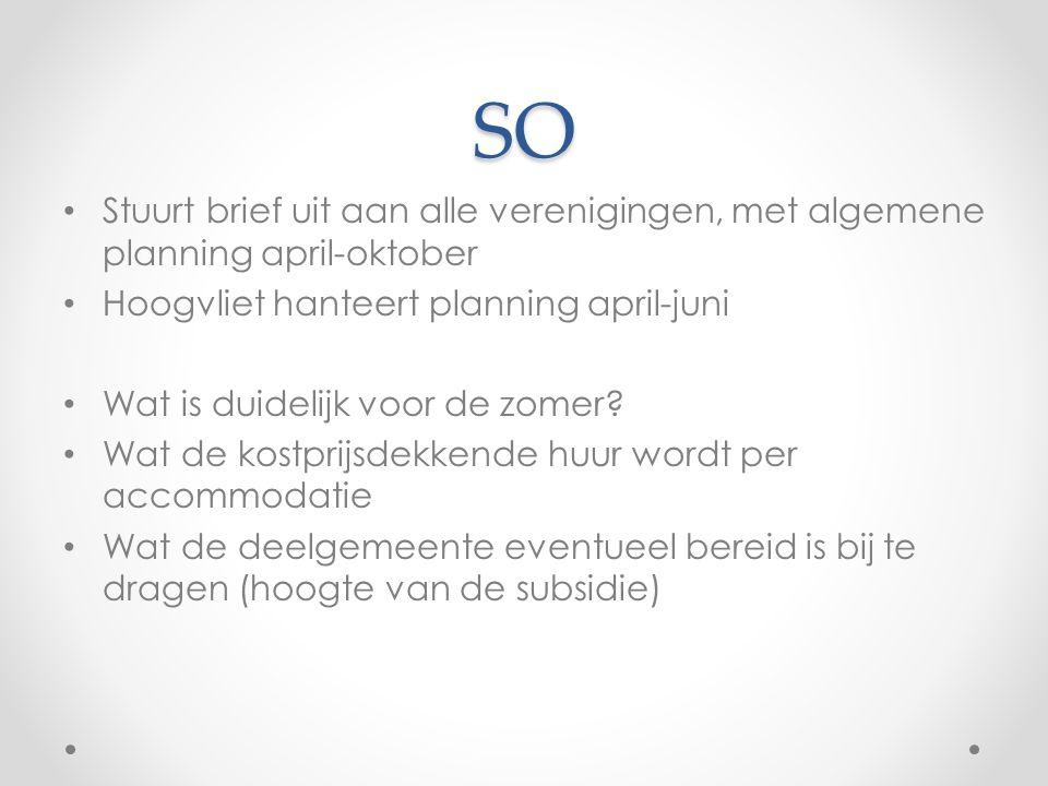 SO Stuurt brief uit aan alle verenigingen, met algemene planning april-oktober Hoogvliet hanteert planning april-juni Wat is duidelijk voor de zomer.