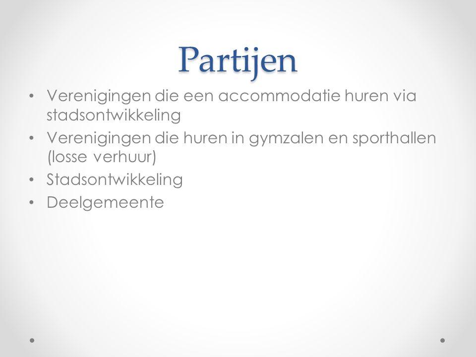 Partijen Verenigingen die een accommodatie huren via stadsontwikkeling Verenigingen die huren in gymzalen en sporthallen (losse verhuur) Stadsontwikkeling Deelgemeente