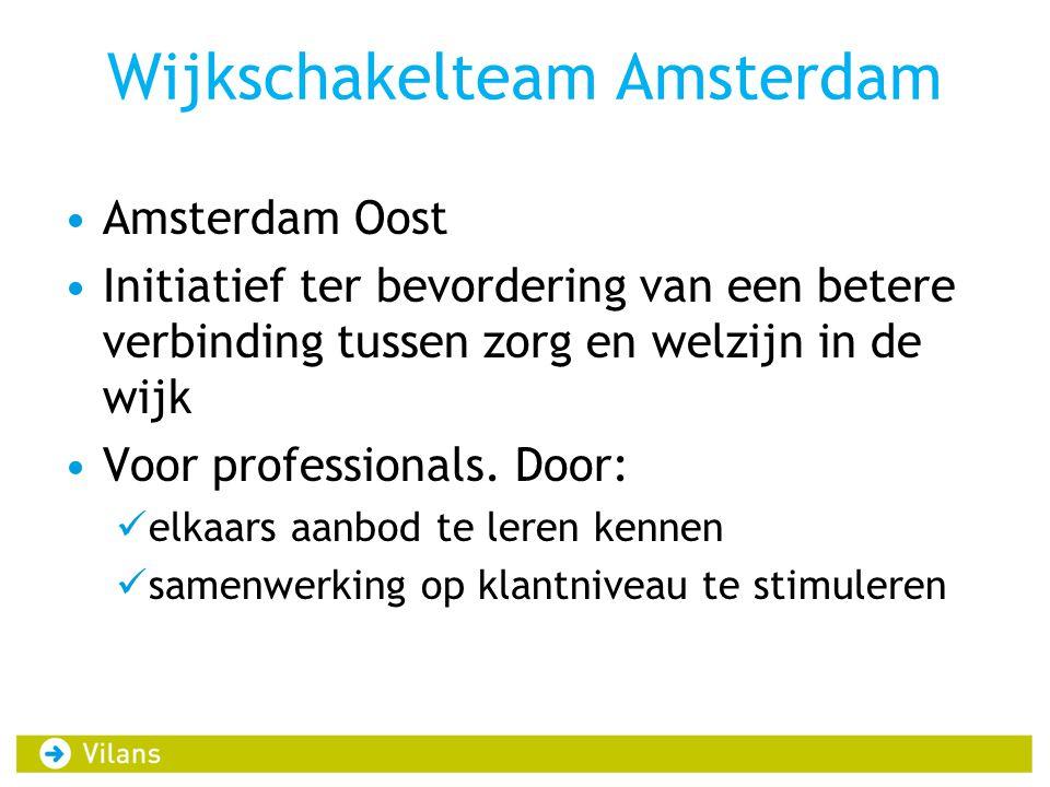 Wijkschakelteam Amsterdam Amsterdam Oost Initiatief ter bevordering van een betere verbinding tussen zorg en welzijn in de wijk Voor professionals. Do