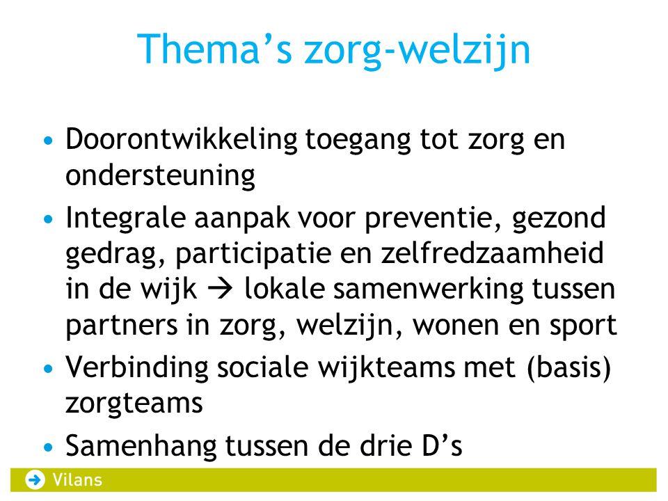 Thema's zorg-welzijn Doorontwikkeling toegang tot zorg en ondersteuning Integrale aanpak voor preventie, gezond gedrag, participatie en zelfredzaamhei