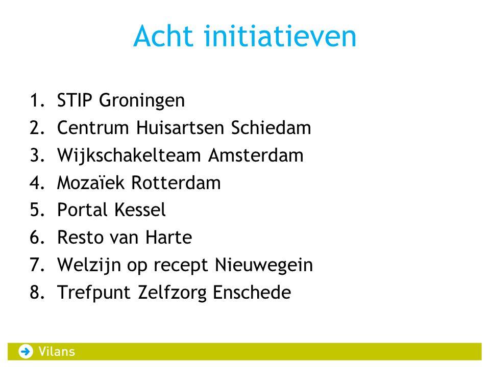 Acht initiatieven 1.STIP Groningen 2.Centrum Huisartsen Schiedam 3.Wijkschakelteam Amsterdam 4.Mozaïek Rotterdam 5.Portal Kessel 6.Resto van Harte 7.W