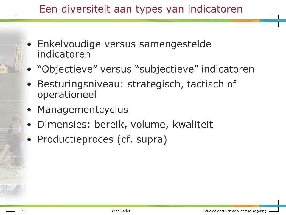 """Dries Verlet Studiedienst van de Vlaamse Regering 17 Een diversiteit aan types van indicatoren Enkelvoudige versus samengestelde indicatoren """"Objectie"""