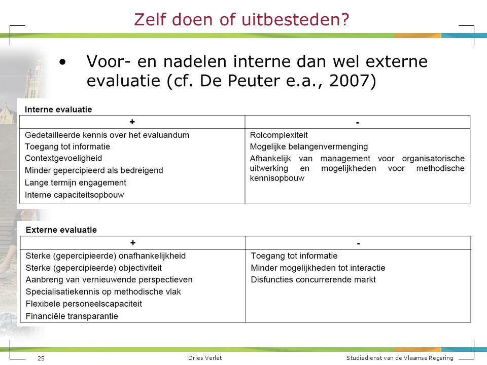 Dries Verlet Studiedienst van de Vlaamse Regering 25 Zelf doen of uitbesteden? Voor- en nadelen interne dan wel externe evaluatie (cf. De Peuter e.a.,