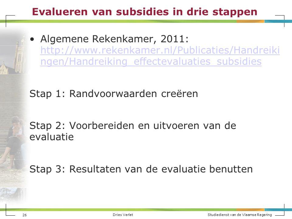 Dries Verlet Studiedienst van de Vlaamse Regering Evalueren van subsidies in drie stappen Algemene Rekenkamer, 2011: http://www.rekenkamer.nl/Publicat