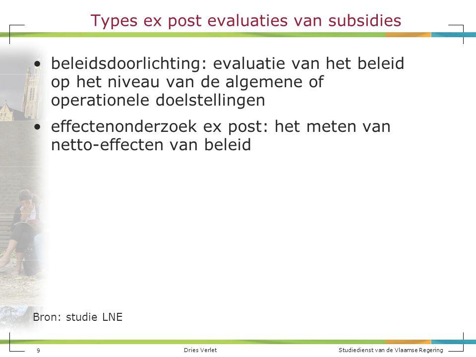 Dries Verlet Studiedienst van de Vlaamse Regering 9 Types ex post evaluaties van subsidies beleidsdoorlichting: evaluatie van het beleid op het niveau
