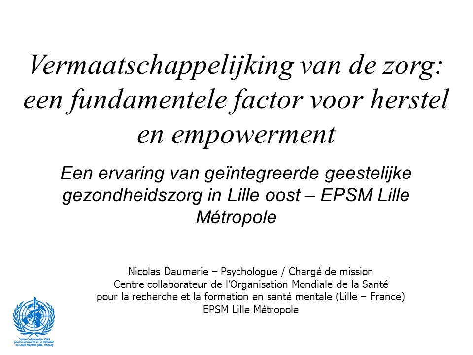 3 bewegingen Concept van sector overstijgende geestelijke gezondheidszorg Door minder de klemtoon te leggen op welbevinden, maar eerder op te treden als facilitator van: -doorbreken van de barrieres tussen gezondheid en welzijn - uitbouw van een gemeenschappelijke cultuur 2000….