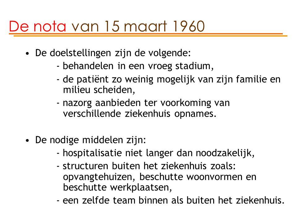 De nota van 15 maart 1960 De doelstellingen zijn de volgende: - behandelen in een vroeg stadium, - de patiënt zo weinig mogelijk van zijn familie en m
