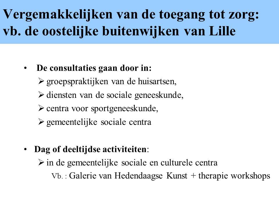 Vergemakkelijken van de toegang tot zorg: vb. de oostelijke buitenwijken van Lille De consultaties gaan door in:  groepspraktijken van de huisartsen,