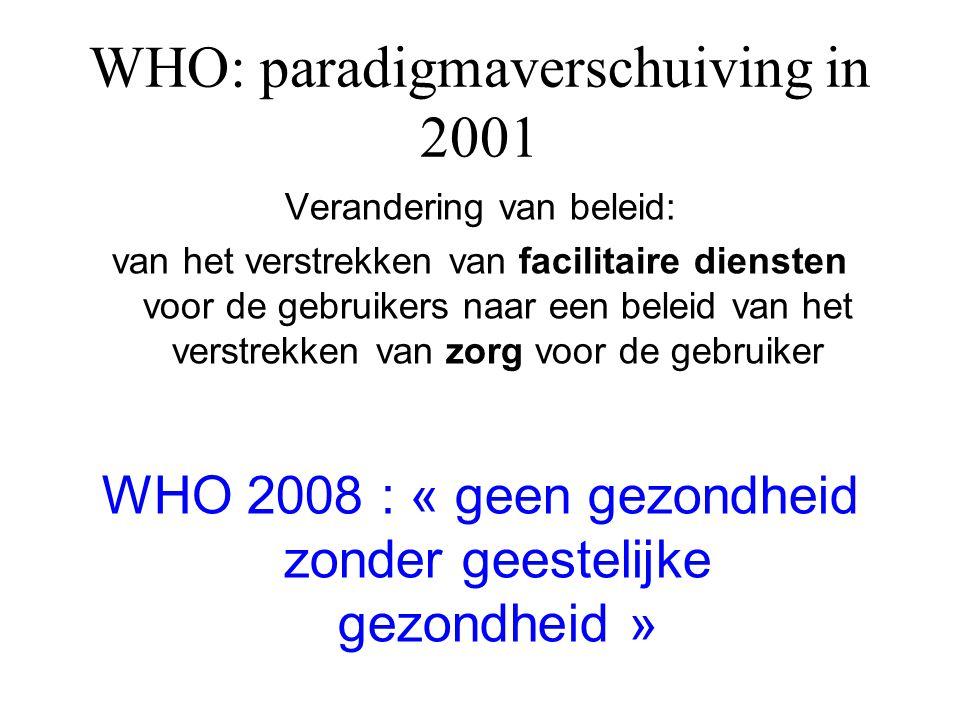 WHO: paradigmaverschuiving in 2001 Verandering van beleid: van het verstrekken van facilitaire diensten voor de gebruikers naar een beleid van het ver